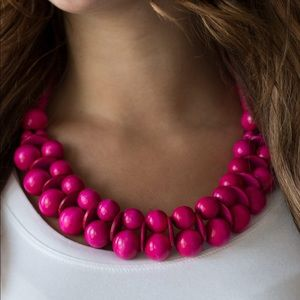 Bright Pink Wood Bead Necklace Earring set NWT